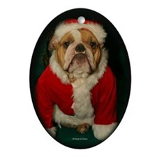 Bull Dog Santa Oval Ornament