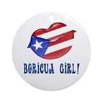 Boricua Girl Ornament (Round)
