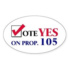 Vote YES on Prop 105 Oval Decal
