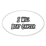 """I Will Beat Cancer"" Oval Sticker (10 pk)"