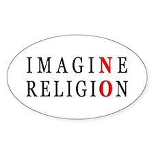 Imagine No Religion Oval Sticker (10 pk)