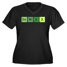 Genius Women's Plus Size V-Neck Dark T-Shirt