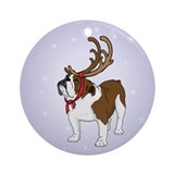 Bulldog in Antlers Ornament (Round)