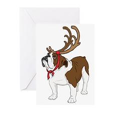 Bulldog in Antlers Greeting Cards (Pk of 20)