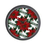 Sparkling Red Poinsettias Wall Clock