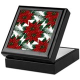 Sparkling Red Poinsettias Keepsake Box