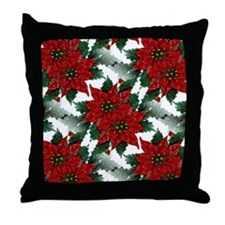 Sparkling Red Poinsettias Throw Pillow