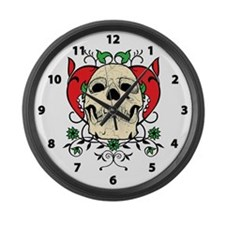 Skull and Heart Large Wall Clock
