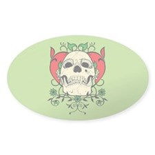 Skull and Heart Oval Decal