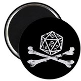 "D20 and crossbones 2.25"" Magnet (100 pack)"