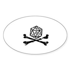 D20 and crossbones Oval Decal
