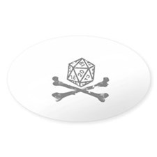 D20 and crossbones Oval Sticker (50 pk)
