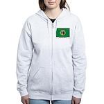 Washington State Flag Women's Zip Hoodie