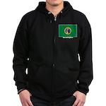 Washington State Flag Zip Hoodie (dark)