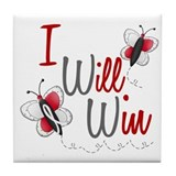 I Will Win 1 Butterfly 2 PEARL/WHITE Tile Coaster