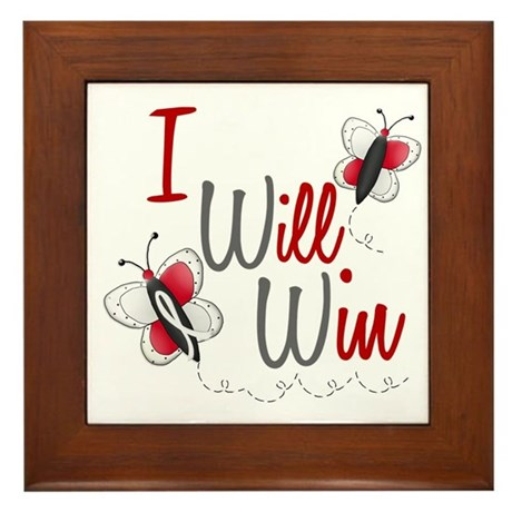 I Will Win 1 Butterfly 2 PEARL/WHITE Framed Tile