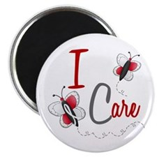 "I Care 1 Butterfly 2 PEARL/WHITE 2.25"" Magnet (10"
