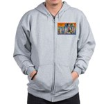 San Francisco California Gree Zip Hoodie