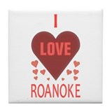 I Love Roanoke Tile Coaster