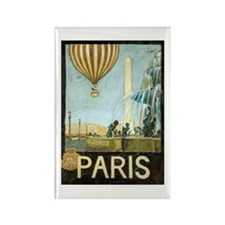 Paris Vintage Travel Balloon Rectangle Magnet