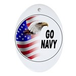 Go Navy Oval Ornament