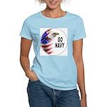 Go Navy (Front) Women's Pink T-Shirt