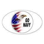 Go Navy Oval Sticker