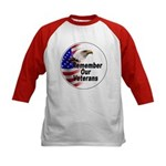 Remember Our Veterans (Front) Kids Baseball Jersey