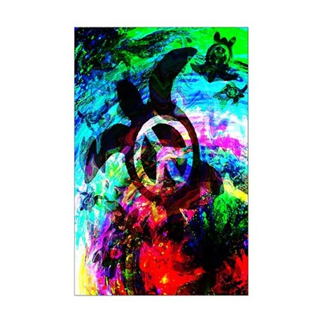 Psychedelic Turtles Mini Poster Print