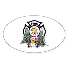 Firefighter Christmas Oval Sticker (50 pk)