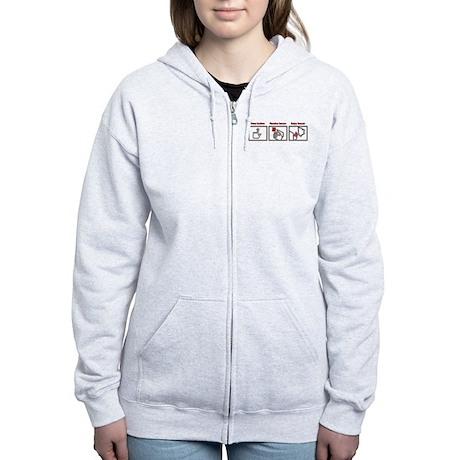 PUSH BUTTON GET BACON Women's Zip Hoodie
