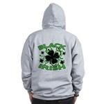 Black Shamrocks Black Irish Zip Hoodie