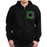 Black Shamrocks Black Irish Zip Hoodie (dark)