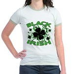 Black Shamrocks Black Irish Jr. Ringer T-Shirt