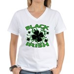 Black Shamrocks Black Irish Women's V-Neck T-Shirt