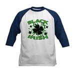 Black Shamrocks Black Irish Kids Baseball Jersey