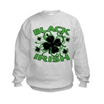 Black Shamrocks Black Irish Kids Sweatshirt