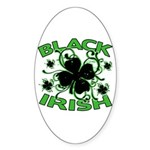 Black Shamrocks Black Irish Sticker (Oval 10 pk)