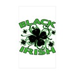 Black Shamrocks Black Irish Sticker (Rectangle 10