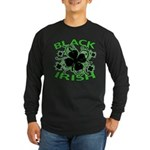 Black Shamrocks Black Irish Long Sleeve Dark T-Shi