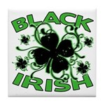 Black Shamrocks Black Irish Tile Coaster