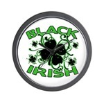 Black Shamrocks Black Irish Wall Clock