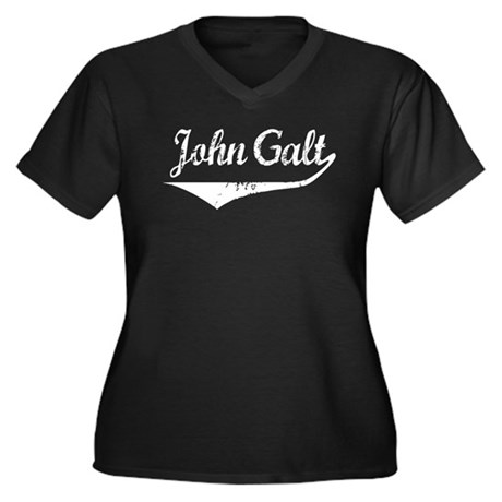 John Galt Women's Plus Size V-Neck Dark T-Shirt