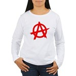 Anarchy Symbol Red Women's Long Sleeve T-Shirt