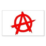 Anarchy Symbol Red Rectangle Sticker 50 pk)