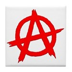 Anarchy Symbol Red Tile Coaster
