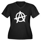 Anarchy Symbol BW Women's Plus Size V-Neck Dark T-
