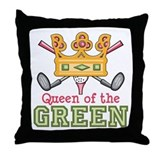 Queen of the Green Womens Golf Throw Pillow