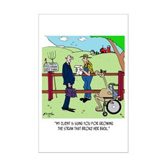 Camel Sues Straw Farmer Mini Poster Print