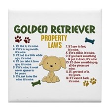 Golden Retriever Property Laws 4 Tile Coaster
